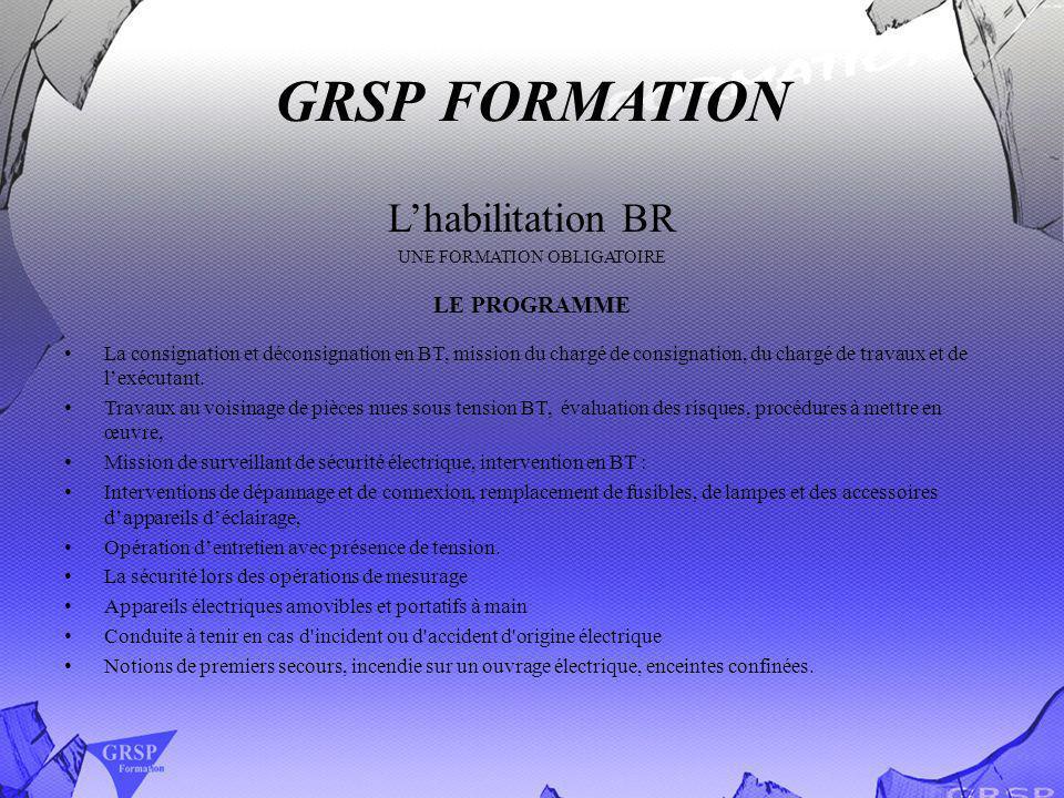 GRSP FORMATION Lhabilitation BR UNE FORMATION OBLIGATOIRE LE PROGRAMME La consignation et déconsignation en BT, mission du chargé de consignation, du