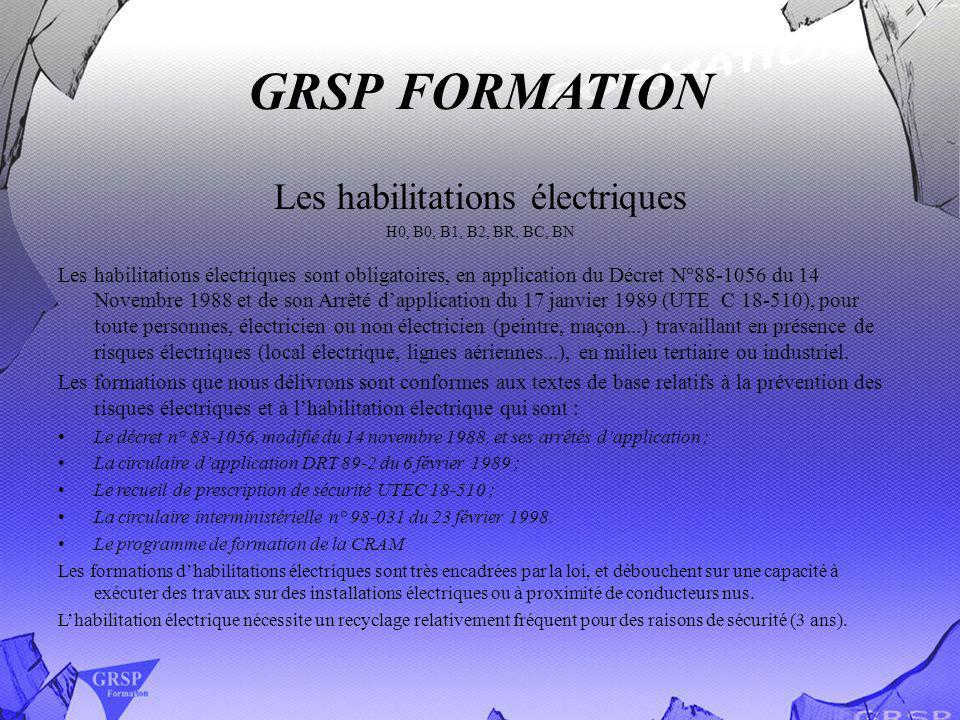 GRSP FORMATION Les habilitations électriques H0, B0, B1, B2, BR, BC, BN Les habilitations électriques sont obligatoires, en application du Décret N°88