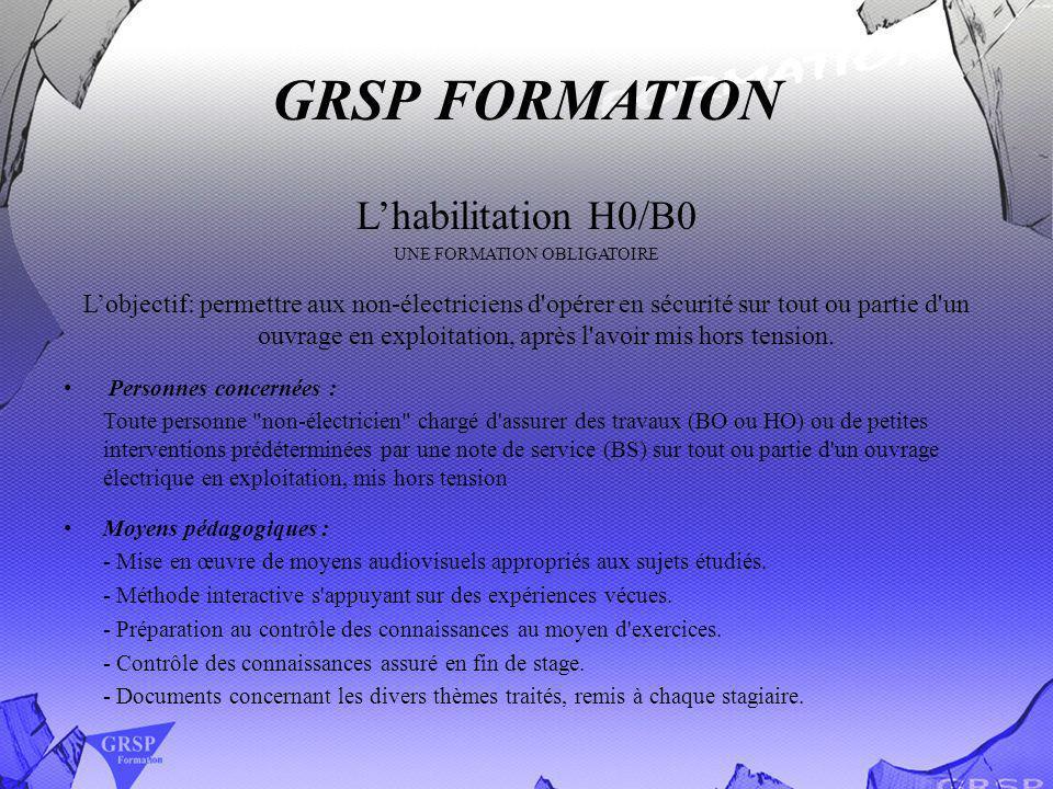 GRSP FORMATION Lhabilitation H0/B0 UNE FORMATION OBLIGATOIRE Lobjectif: permettre aux non-électriciens d'opérer en sécurité sur tout ou partie d'un ou