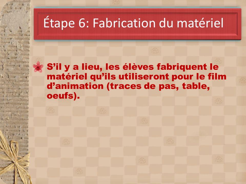 Avril Étape 6: Fabrication du matériel Sil y a lieu, les élèves fabriquent le matériel quils utiliseront pour le film danimation (traces de pas, table