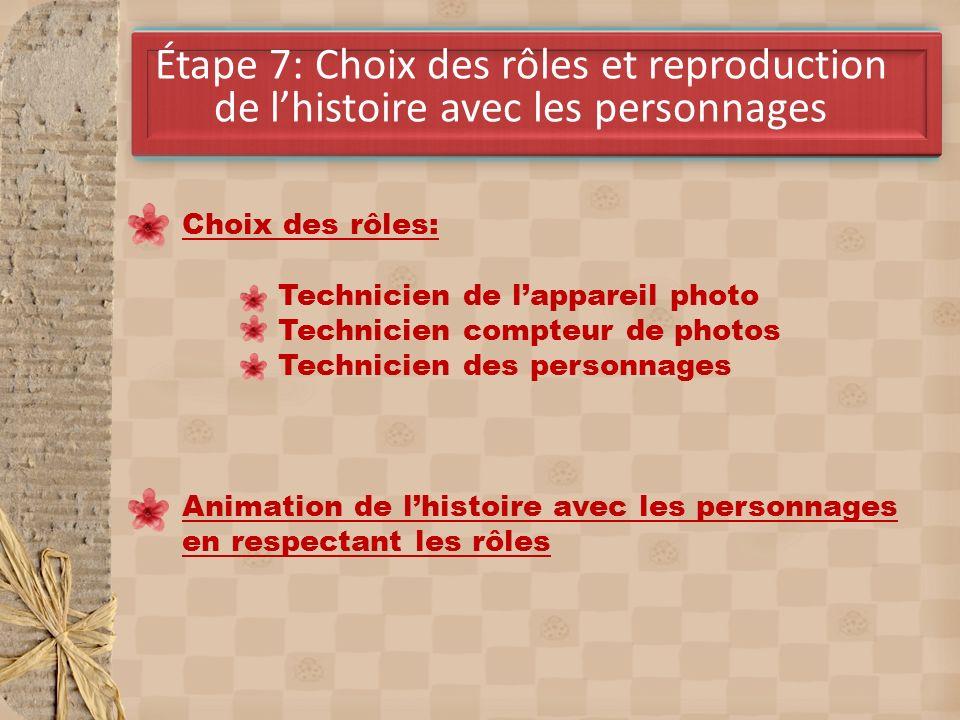 Étape 7: Choix des rôles et reproduction de lhistoire avec les personnages Choix des rôles: Technicien de lappareil photo Technicien compteur de photos Technicien des personnages Animation de lhistoire avec les personnages en respectant les rôles