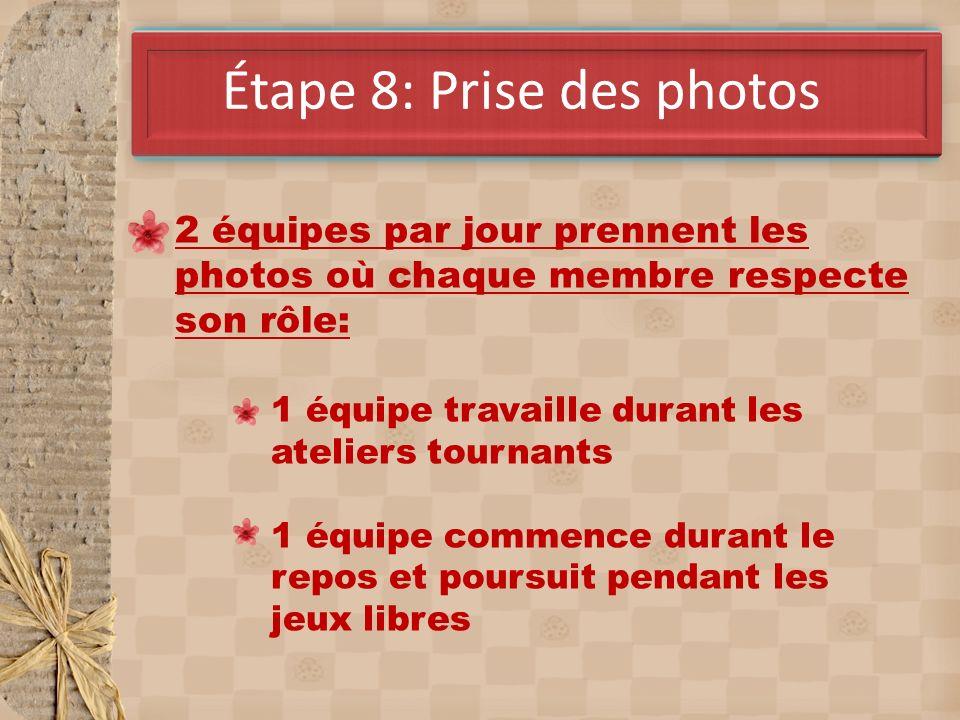 Étape 8: Prise des photos 2 équipes par jour prennent les photos où chaque membre respecte son rôle: 1 équipe travaille durant les ateliers tournants