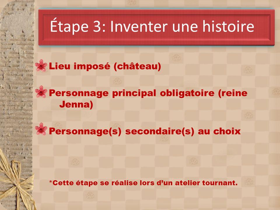 AvrilÉtape 3: Inventer une histoire Lieu imposé (château) Personnage principal obligatoire (reine Jenna) Personnage(s) secondaire(s) au choix *Cette é
