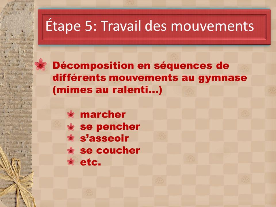 Avril Étape 5: Travail des mouvements Décomposition en séquences de différents mouvements au gymnase (mimes au ralenti...) marcher se pencher sasseoir se coucher etc.