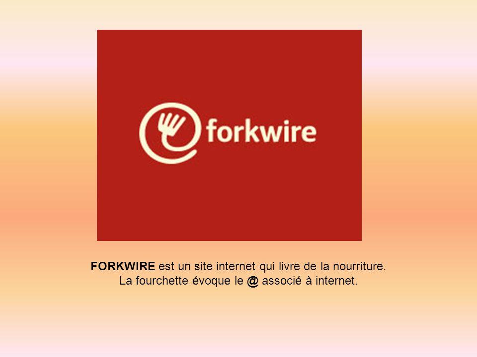 FORKWIRE est un site internet qui livre de la nourriture. La fourchette évoque le @ associé à internet.
