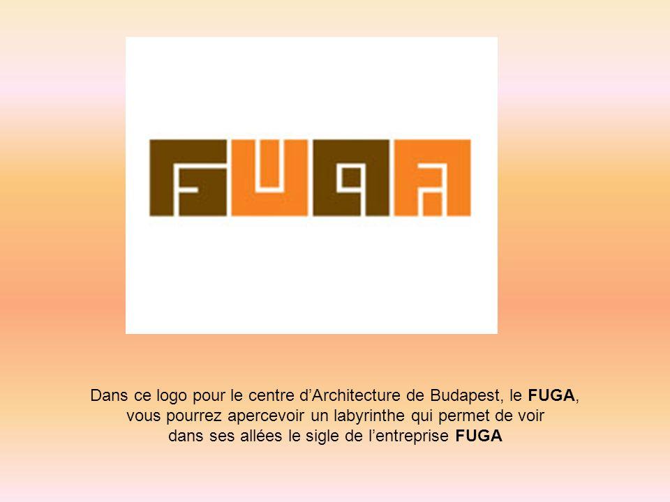 Dans ce logo pour le centre dArchitecture de Budapest, le FUGA, vous pourrez apercevoir un labyrinthe qui permet de voir dans ses allées le sigle de l