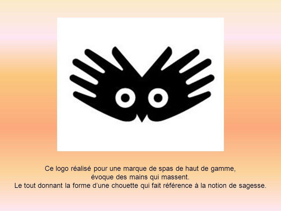 Ce logo réalisé pour une marque de spas de haut de gamme, évoque des mains qui massent. Le tout donnant la forme dune chouette qui fait référence à la