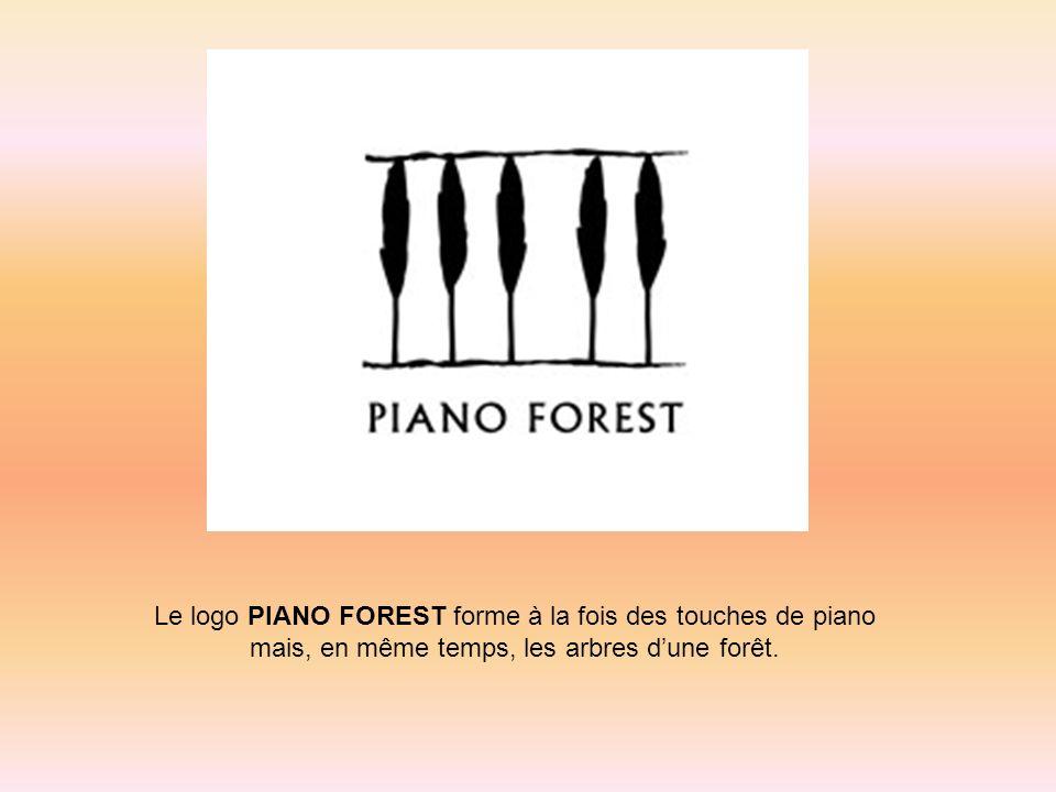 Le logo PIANO FOREST forme à la fois des touches de piano mais, en même temps, les arbres dune forêt.