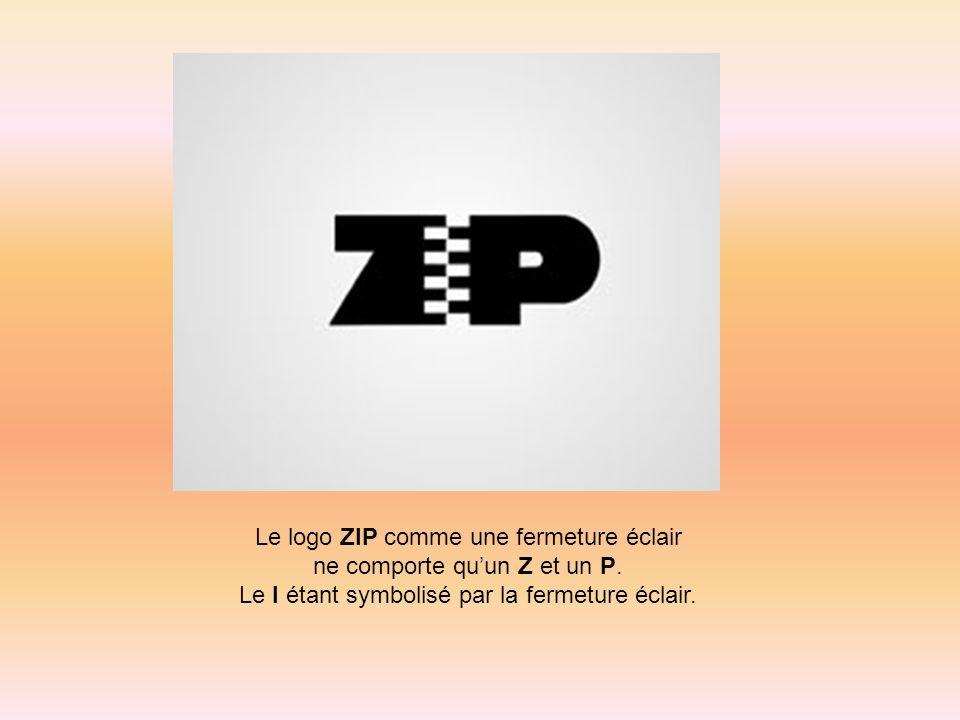 Le logo ZIP comme une fermeture éclair ne comporte quun Z et un P. Le I étant symbolisé par la fermeture éclair.