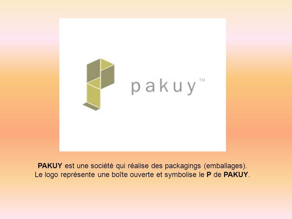 PAKUY est une société qui réalise des packagings (emballages). Le logo représente une boîte ouverte et symbolise le P de PAKUY.