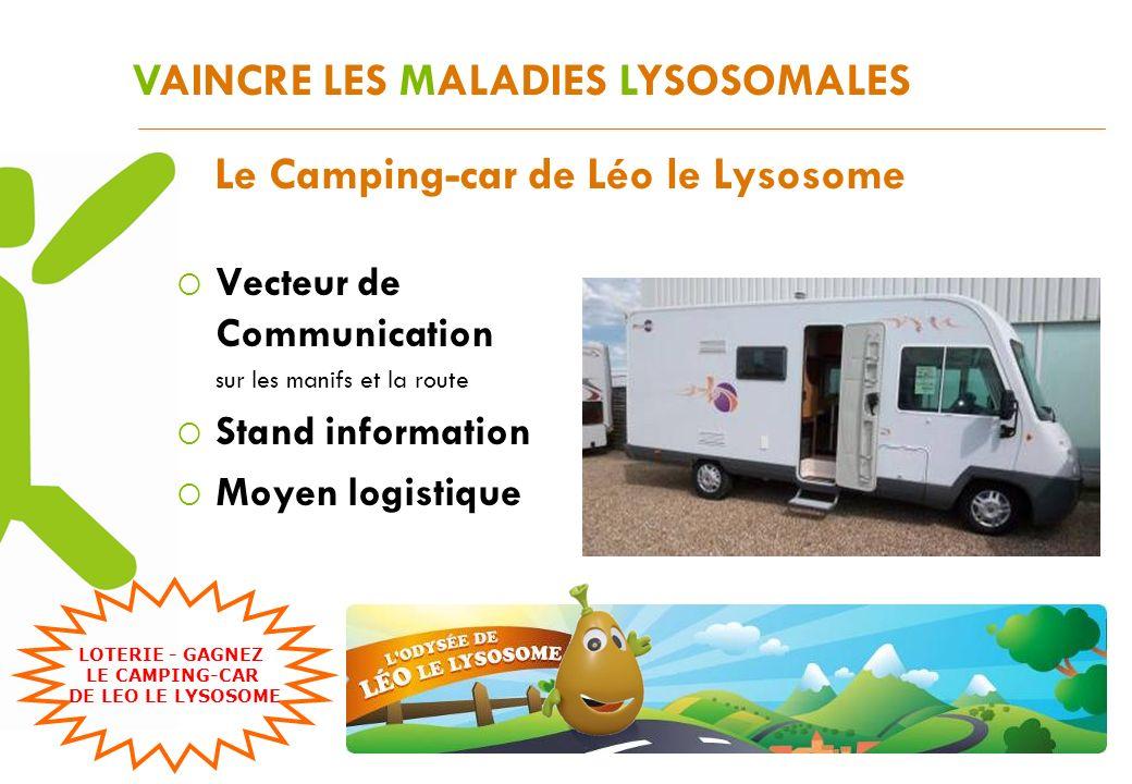 VAINCRE LES MALADIES LYSOSOMALES Le Camping-car de Léo le Lysosome Vecteur de Communication sur les manifs et la route Stand information Moyen logisti