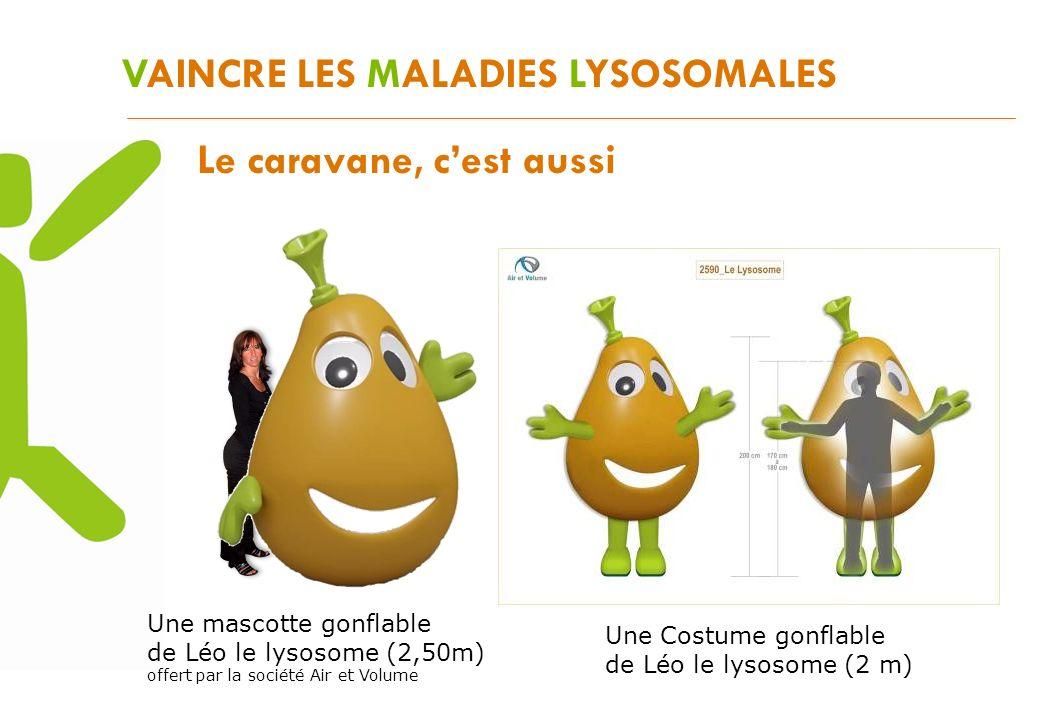 VAINCRE LES MALADIES LYSOSOMALES Le caravane, cest aussi Une mascotte gonflable de Léo le lysosome (2,50m) offert par la société Air et Volume Une Cos