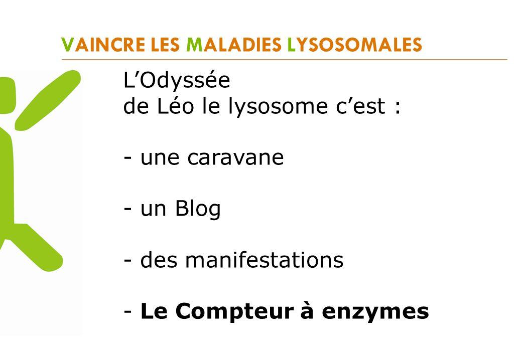 VAINCRE LES MALADIES LYSOSOMALES LOdyssée de Léo le lysosome cest : - une caravane - un Blog - des manifestations - Le Compteur à enzymes