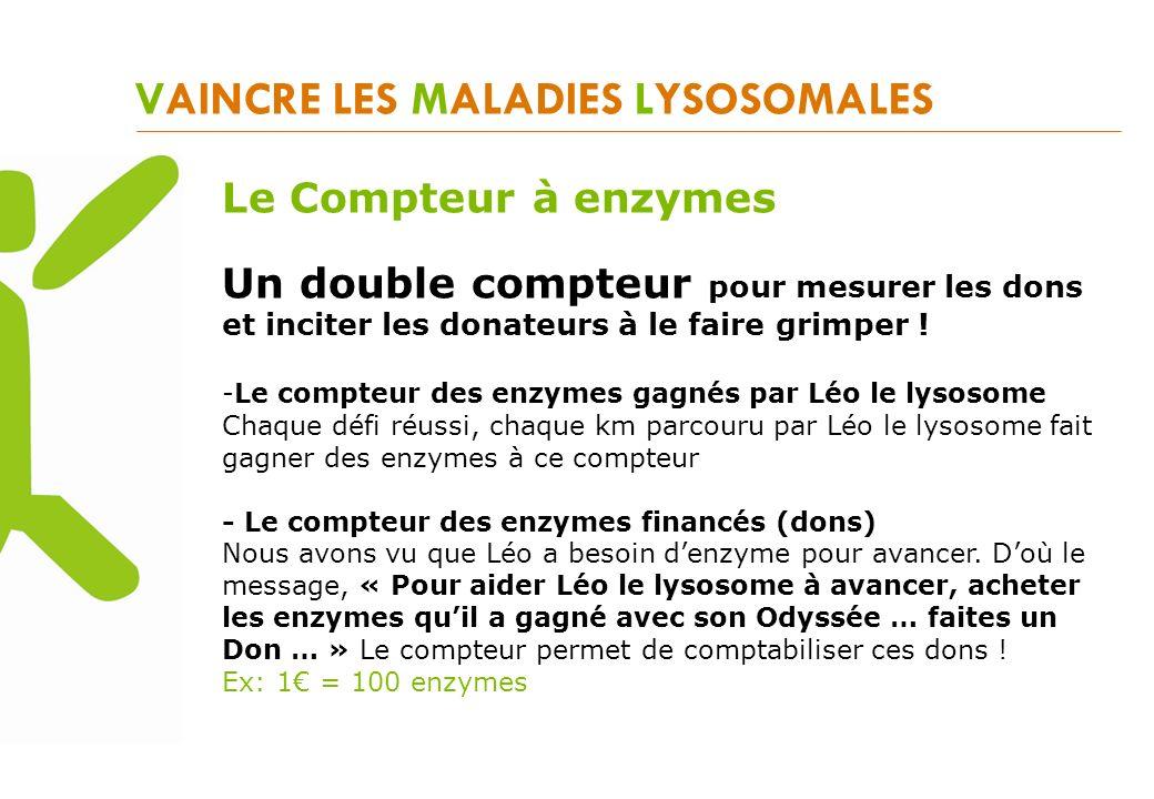 VAINCRE LES MALADIES LYSOSOMALES Le Compteur à enzymes Un double compteur pour mesurer les dons et inciter les donateurs à le faire grimper ! -Le comp