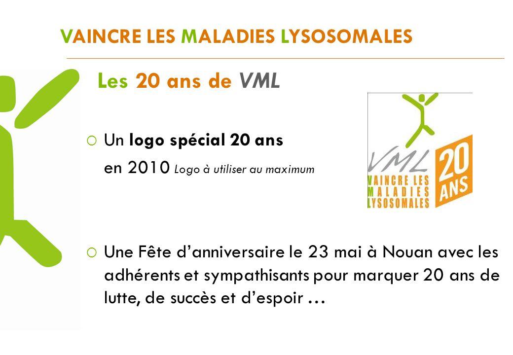 Un logo spécial 20 ans en 2010 Logo à utiliser au maximum VAINCRE LES MALADIES LYSOSOMALES Les 20 ans de VML Une Fête danniversaire le 23 mai à Nouan