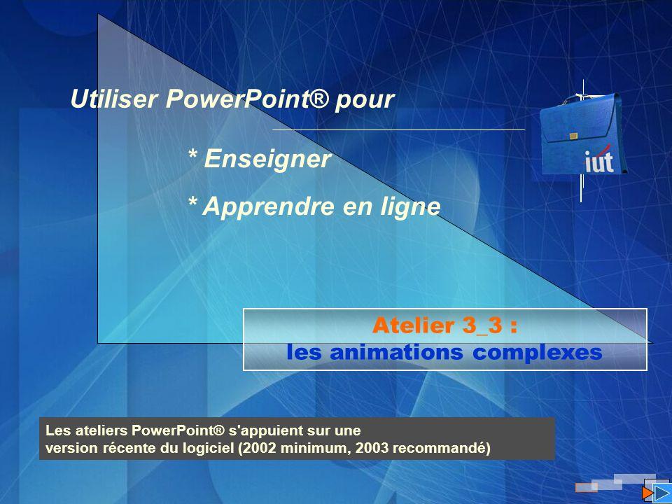 Atelier 3_3 : les animations complexes Utiliser PowerPoint® pour * Enseigner * Apprendre en ligne Les ateliers PowerPoint® s'appuient sur une version