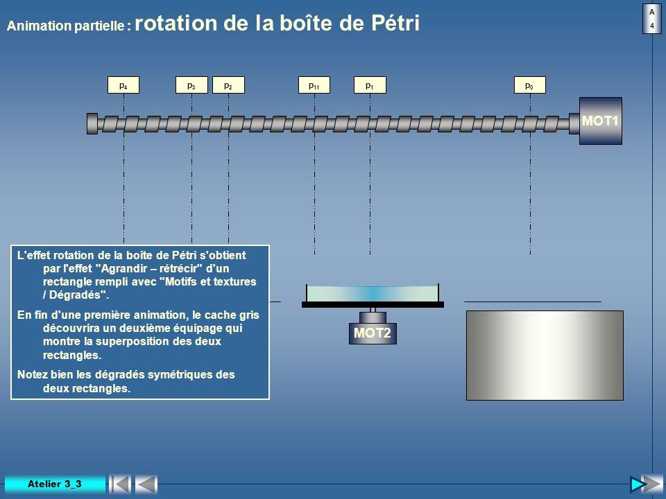 p 11 Animation partielle : rotation de la boîte de Pétri MOT1 MOT2 p0p0 p1p1 p2p2 p3p3 p4p4 A4A4 L'effet rotation de la boîte de Pétri s'obtient par l