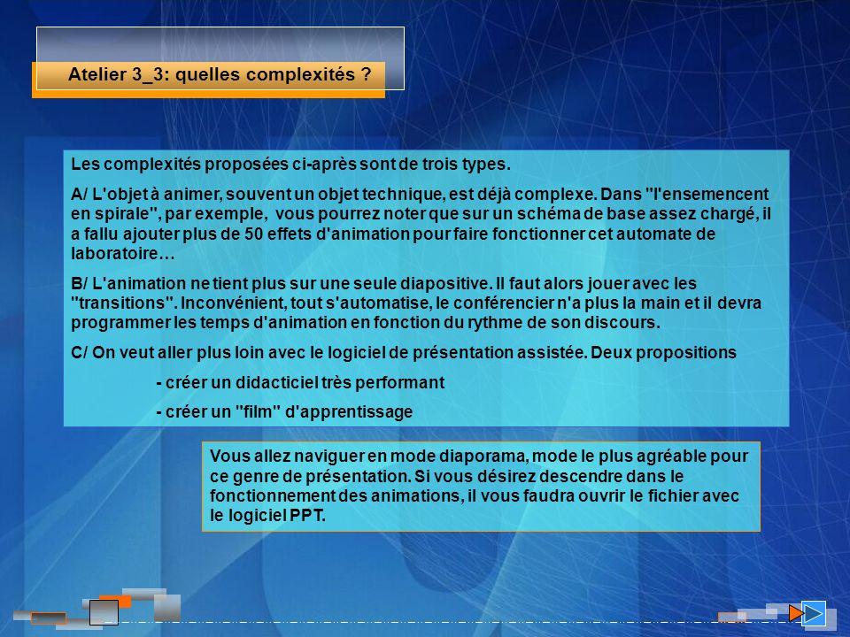 Atelier 3_3: quelles complexités ? Les complexités proposées ci-après sont de trois types. A/ L'objet à animer, souvent un objet technique, est déjà c