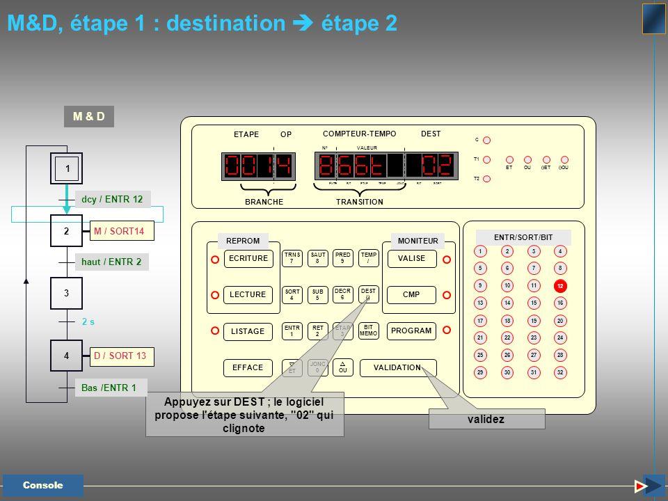 M&D, étape 1 : destination étape 2 Appuyez sur DEST ; le logiciel propose l'étape suivante,