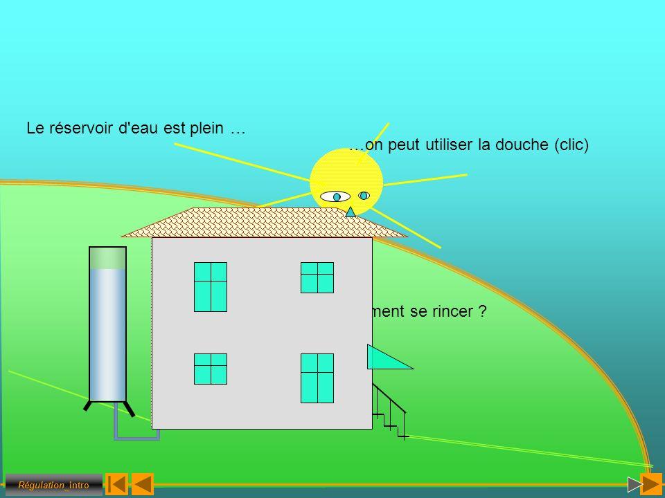 …on peut utiliser la douche (clic) Le réservoir d'eau est plein … Comment se rincer ? Régulation_intro