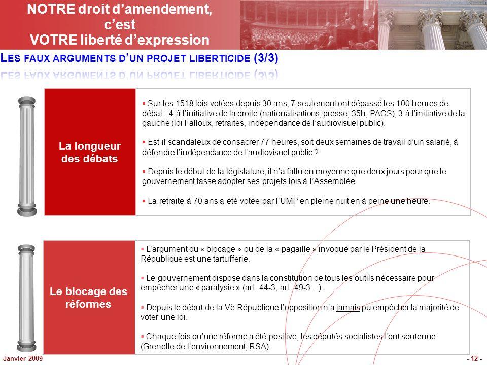 Janvier 2009- 12 - Le blocage des réformes Largument du « blocage » ou de la « pagaille » invoqué par le Président de la République est une tartufferi