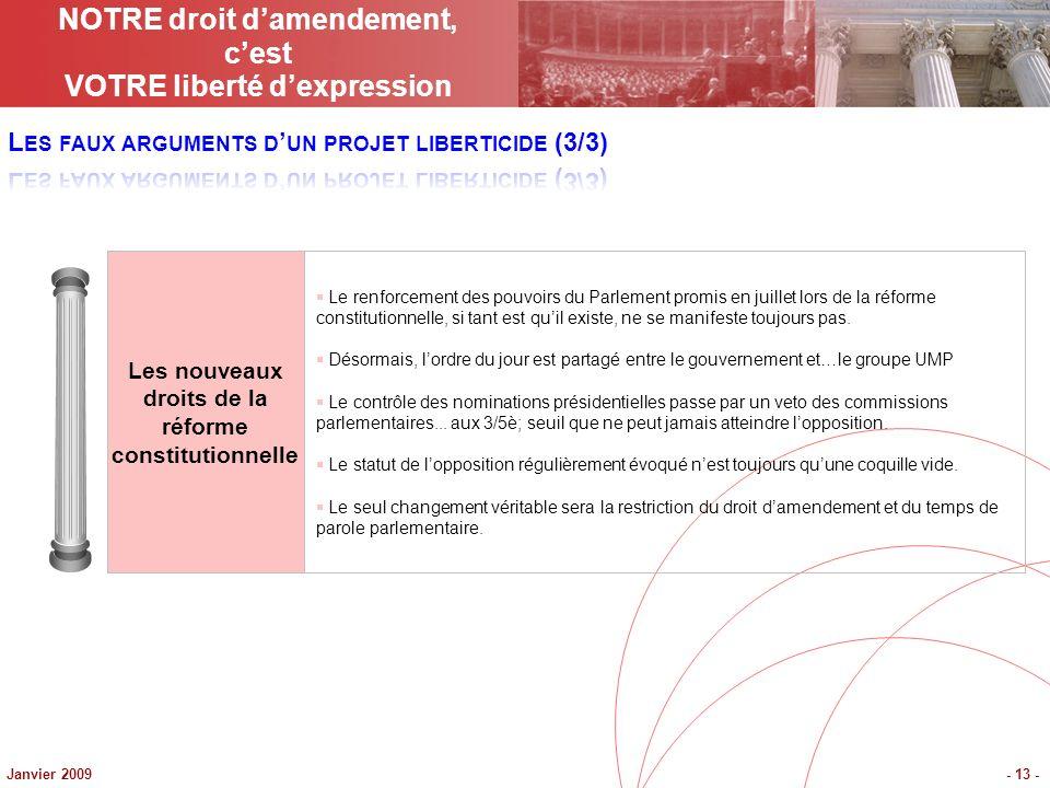 Janvier 2009- 13 - Les nouveaux droits de la réforme constitutionnelle Le renforcement des pouvoirs du Parlement promis en juillet lors de la réforme