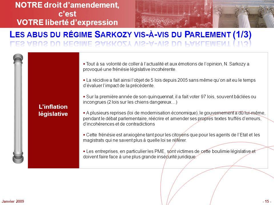 Janvier 2009- 15 - Linflation législative Tout à sa volonté de coller à lactualité et aux émotions de lopinion, N. Sarkozy a provoqué une frénésie lég
