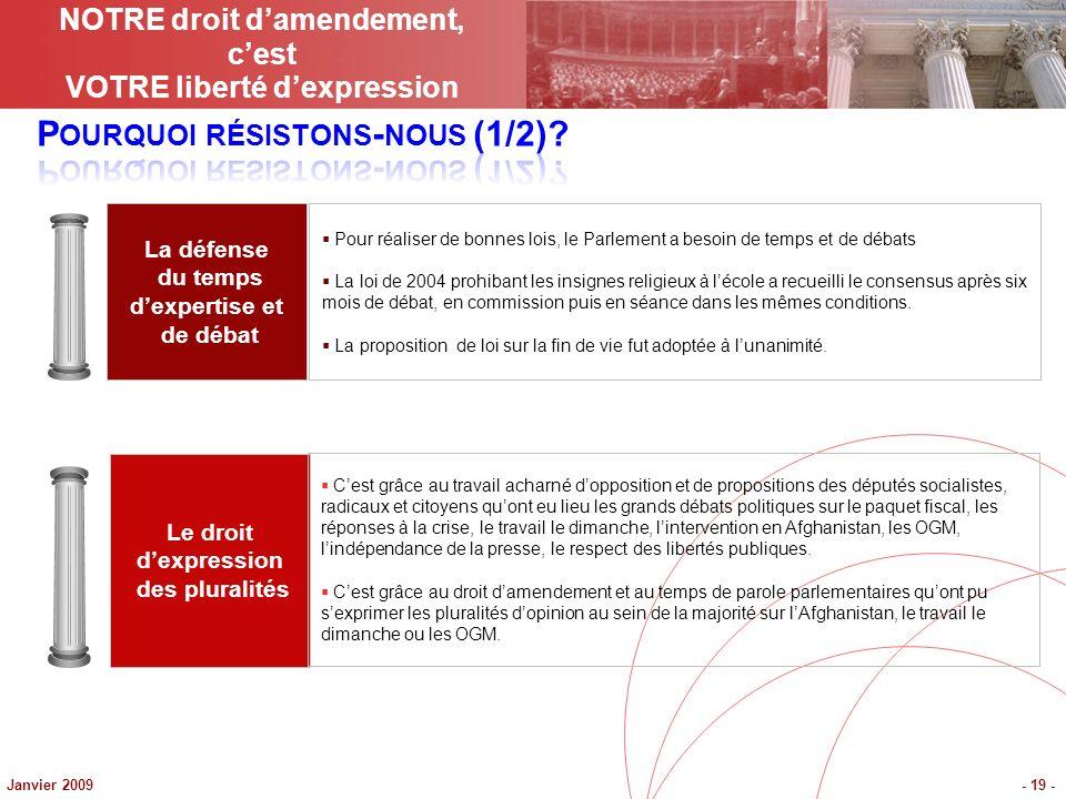 Janvier 2009- 19 - La défense du temps dexpertise et de débat Le droit dexpression des pluralités Pour réaliser de bonnes lois, le Parlement a besoin