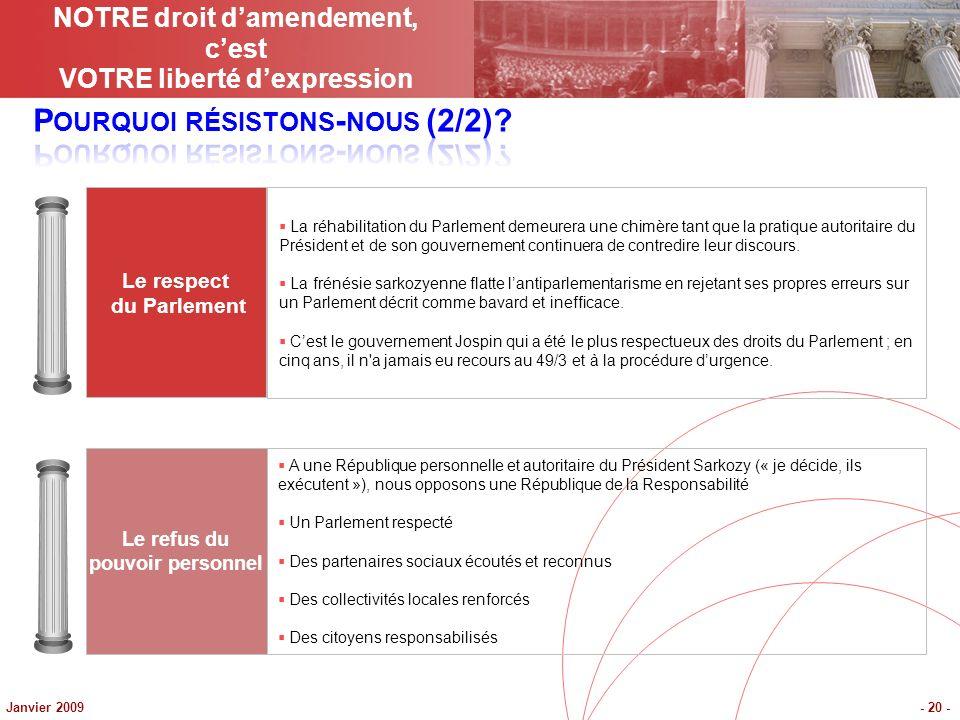 Janvier 2009- 20 - Le respect du Parlement Le refus du pouvoir personnel La réhabilitation du Parlement demeurera une chimère tant que la pratique autoritaire du Président et de son gouvernement continuera de contredire leur discours.