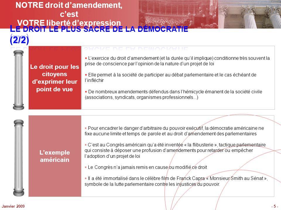 Janvier 2009- 16 - Lurgence perpétuelle, La procédure bâclée Le gouvernement impose la procédure durgence sur tous les projets de loi importants quil présente au Parlement.