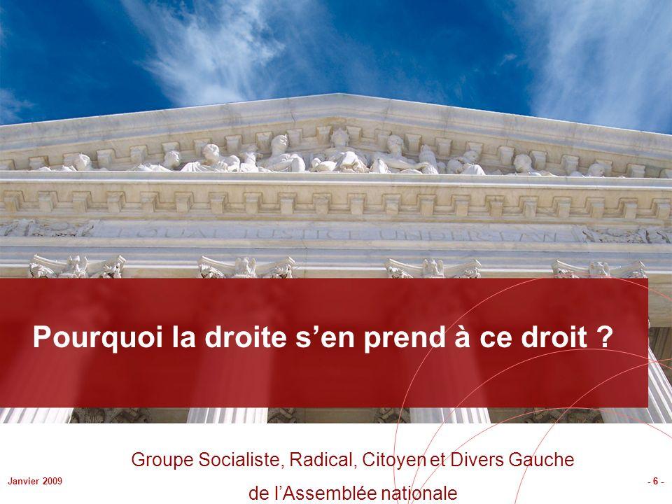 - 6 -Janvier 2009 Pourquoi la droite sen prend à ce droit ? - 6 - Groupe Socialiste, Radical, Citoyen et Divers Gauche de lAssemblée nationale