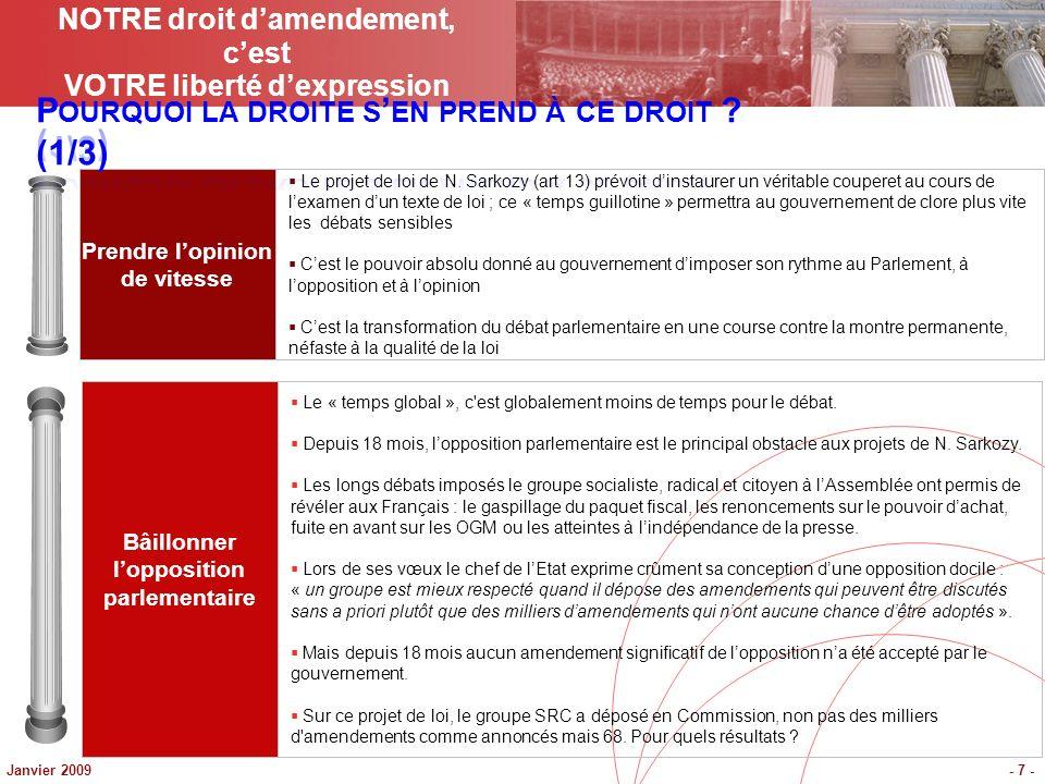 Janvier 2009- 7 - Prendre lopinion de vitesse Bâillonner lopposition parlementaire Le projet de loi de N. Sarkozy (art 13) prévoit dinstaurer un vérit