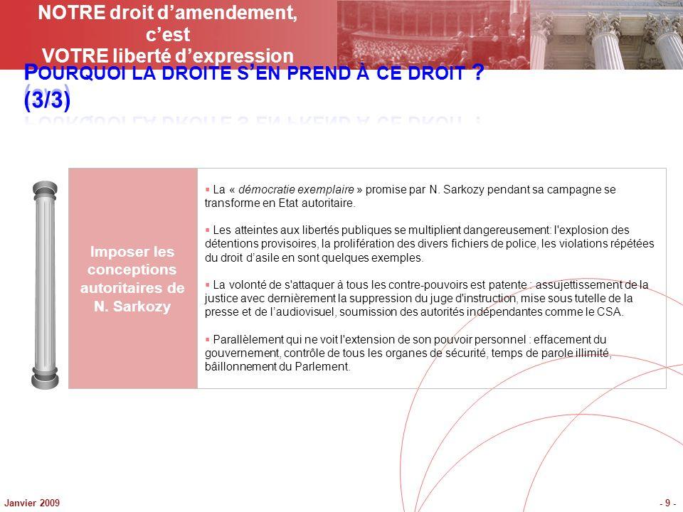 Janvier 2009- 9 - Imposer les conceptions autoritaires de N. Sarkozy La « démocratie exemplaire » promise par N. Sarkozy pendant sa campagne se transf