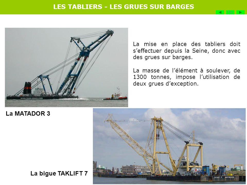 La mise en place des tabliers doit seffectuer depuis la Seine, donc avec des grues sur barges. La masse de lélément à soulever, de 1300 tonnes, impose
