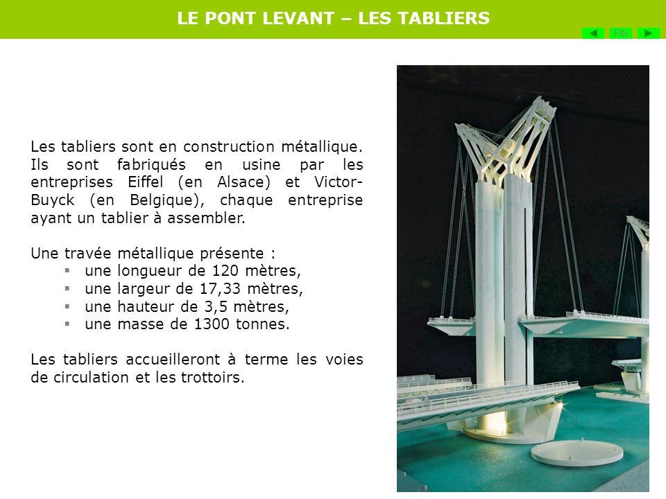 Les tabliers sont en construction métallique. Ils sont fabriqués en usine par les entreprises Eiffel (en Alsace) et Victor- Buyck (en Belgique), chaqu