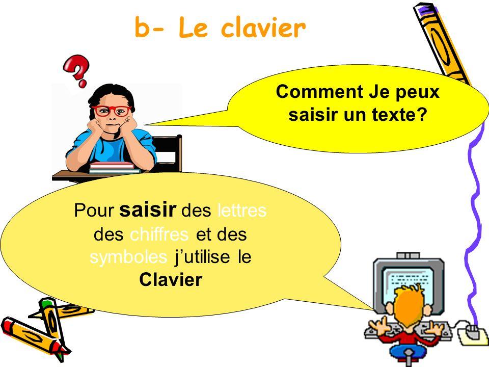 b- Le clavier Comment Je peux saisir un texte? Pour saisir des lettres des chiffres et des symboles jutilise le Clavier