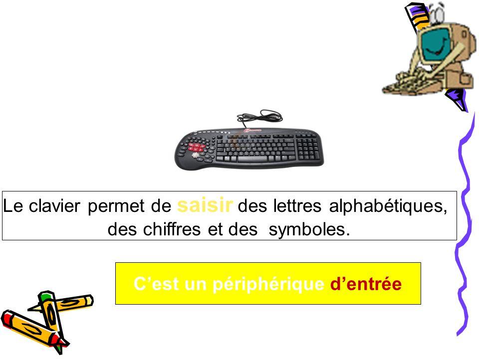 Le clavier permet de saisir des lettres alphabétiques, des chiffres et des symboles. Cest un périphérique dentrée