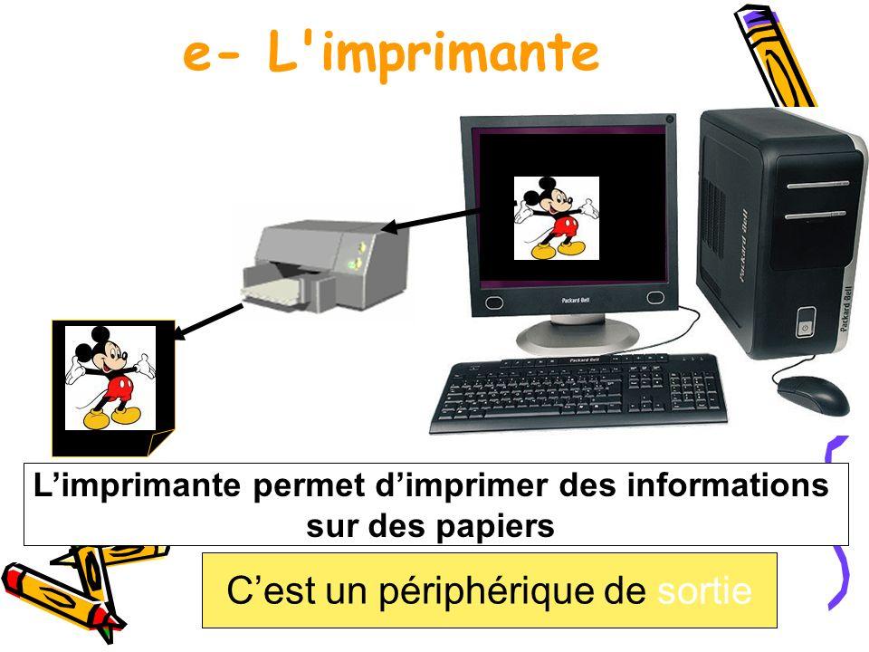 e- L'imprimante Cest un périphérique de sortie Limprimante permet dimprimer des informations sur des papiers