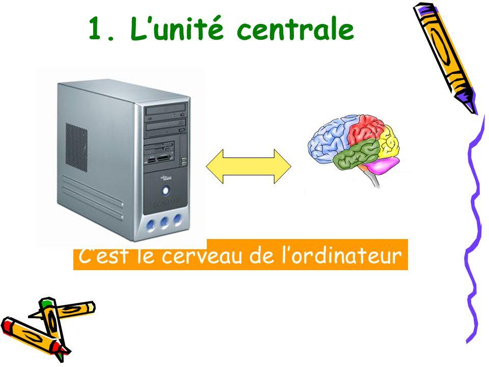 1. Lunité centrale Cest le cerveau de lordinateur