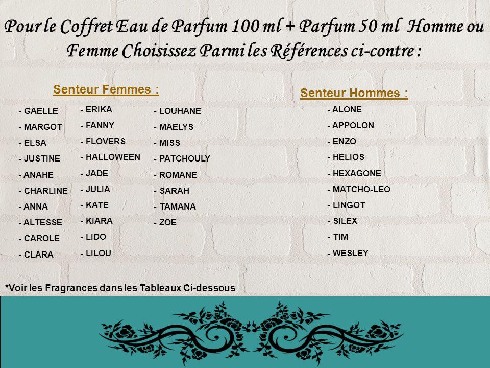 Pour le Coffret Eau de Parfum 100 ml + Parfum 50 ml Homme ou Femme Choisissez Parmi les Références ci-contre : - GAELLE - MARGOT - ELSA - JUSTINE - ANAHE - CHARLINE - ANNA - ALTESSE - CAROLE - CLARA - ALONE - APPOLON - ENZO - HELIOS - HEXAGONE - MATCHO-LEO - LINGOT - SILEX - TIM - WESLEY *Voir les Fragrances dans les Tableaux Ci-dessous - ERIKA - FANNY - FLOVERS - HALLOWEEN - JADE - JULIA - KATE - KIARA - LIDO - LILOU - LOUHANE - MAELYS - MISS - PATCHOULY - ROMANE - SARAH - TAMANA - ZOE Senteur Femmes : Senteur Hommes :