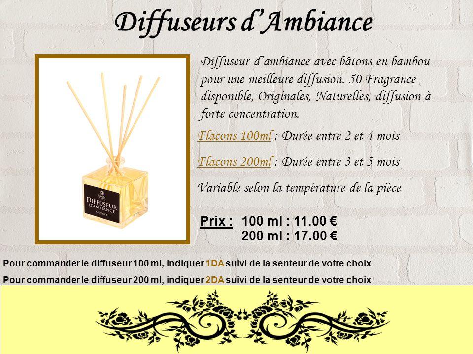 Diffuseurs dAmbiance Diffuseur dambiance avec bâtons en bambou pour une meilleure diffusion.