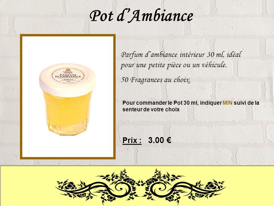 Pot dAmbiance Parfum dambiance intérieur 30 ml, idéal pour une petite pièce ou un véhicule.