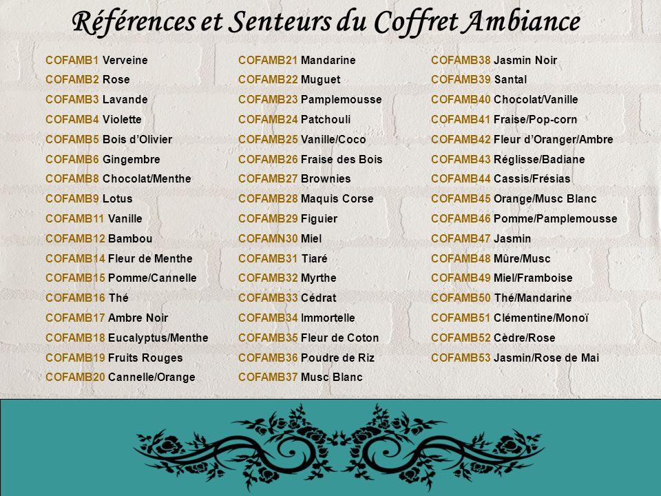 Références et Senteurs du Coffret Ambiance COFAMB1 Verveine COFAMB2 Rose COFAMB3 Lavande COFAMB4 Violette COFAMB5 Bois dOlivier COFAMB6 Gingembre COFAMB8 Chocolat/Menthe COFAMB9 Lotus COFAMB11 Vanille COFAMB12 Bambou COFAMB14 Fleur de Menthe COFAMB15 Pomme/Cannelle COFAMB16 Thé COFAMB17 Ambre Noir COFAMB18 Eucalyptus/Menthe COFAMB19 Fruits Rouges COFAMB20 Cannelle/Orange COFAMB21 Mandarine COFAMB22 Muguet COFAMB23 Pamplemousse COFAMB24 Patchouli COFAMB25 Vanille/Coco COFAMB26 Fraise des Bois COFAMB27 Brownies COFAMB28 Maquis Corse COFAMB29 Figuier COFAMN30 Miel COFAMB31 Tiaré COFAMB32 Myrthe COFAMB33 Cédrat COFAMB34 Immortelle COFAMB35 Fleur de Coton COFAMB36 Poudre de Riz COFAMB37 Musc Blanc COFAMB38 Jasmin Noir COFAMB39 Santal COFAMB40 Chocolat/Vanille COFAMB41 Fraise/Pop-corn COFAMB42 Fleur dOranger/Ambre COFAMB43 Réglisse/Badiane COFAMB44 Cassis/Frésias COFAMB45 Orange/Musc Blanc COFAMB46 Pomme/Pamplemousse COFAMB47 Jasmin COFAMB48 Mûre/Musc COFAMB49 Miel/Framboise COFAMB50 Thé/Mandarine COFAMB51 Clémentine/Monoï COFAMB52 Cèdre/Rose COFAMB53 Jasmin/Rose de Mai