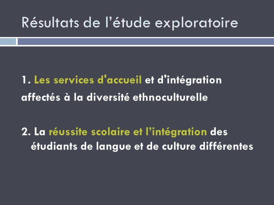 Résultats de létude exploratoire 1. Les services d'accueil et d'intégration affectés à la diversité ethnoculturelle 2. La réussite scolaire et lintégr