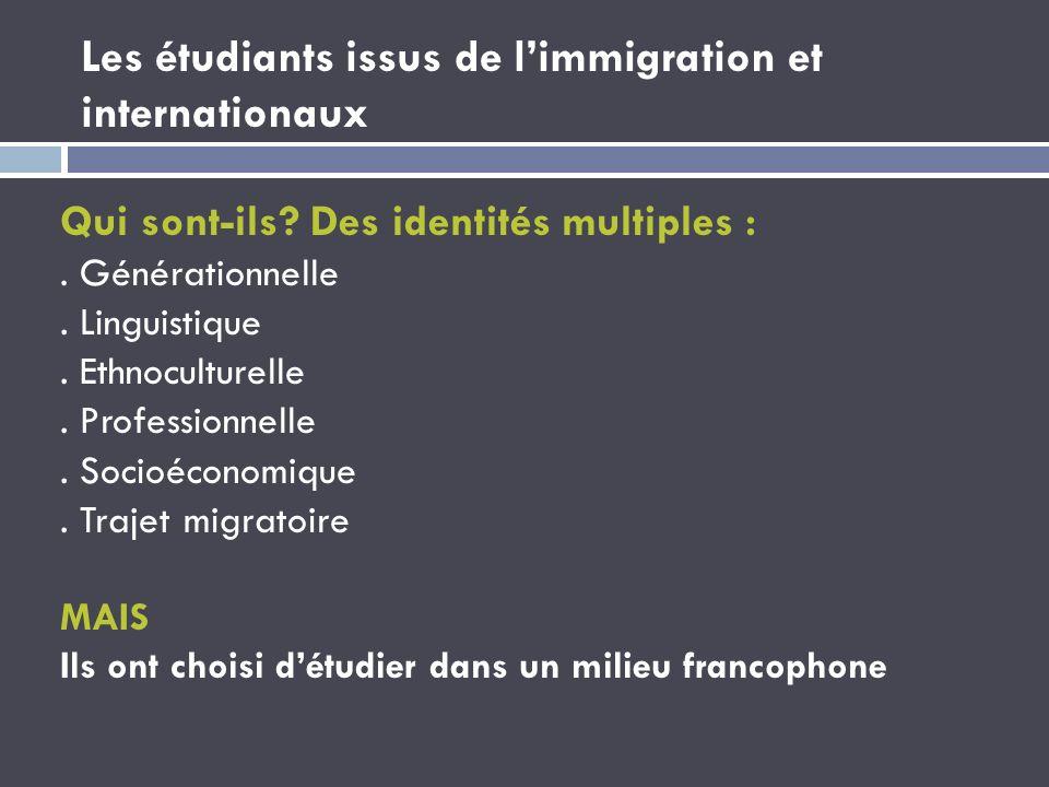 Les étudiants issus de limmigration et internationaux Qui sont-ils? Des identités multiples :. Générationnelle. Linguistique. Ethnoculturelle. Profess