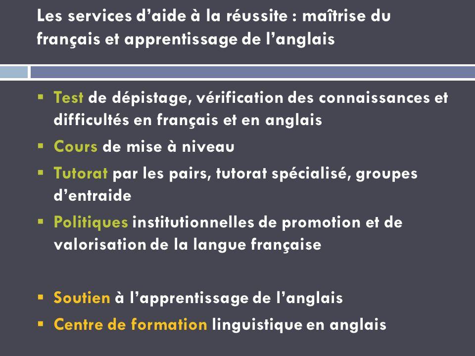 Les services daide à la réussite : maîtrise du français et apprentissage de langlais Test de dépistage, vérification des connaissances et difficultés