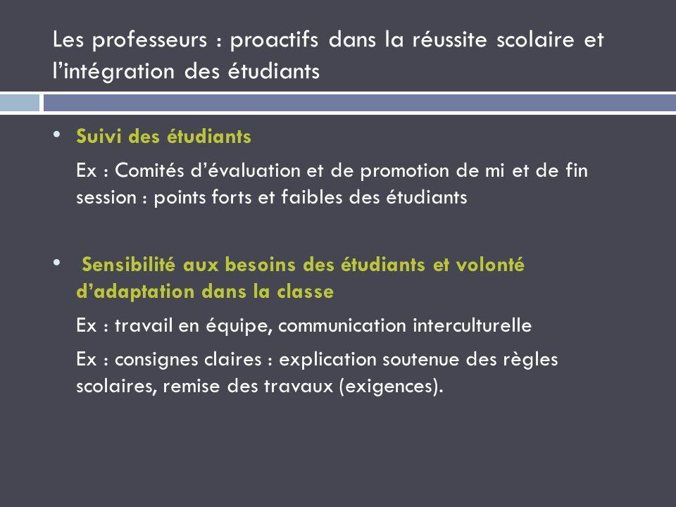 Les professeurs : proactifs dans la réussite scolaire et lintégration des étudiants Suivi des étudiants Ex : Comités dévaluation et de promotion de mi