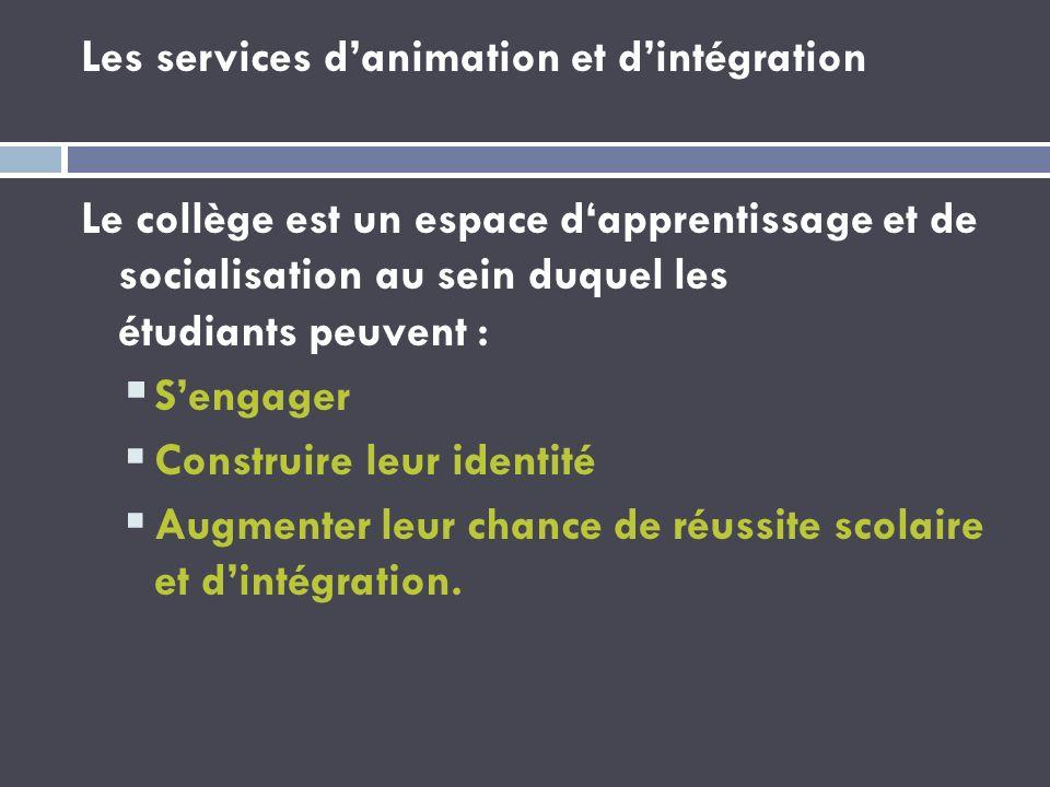 Les services danimation et dintégration Le collège est un espace dapprentissage et de socialisation au sein duquel les étudiants peuvent : Sengager Co