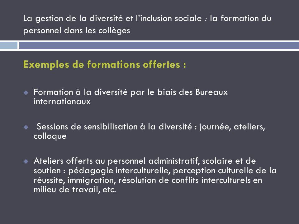 La gestion de la diversité et linclusion sociale : la formation du personnel dans les collèges Exemples de formations offertes : Formation à la divers