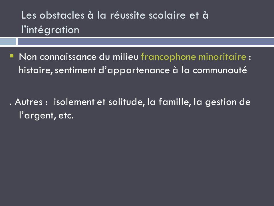 Les obstacles à la réussite scolaire et à lintégration Non connaissance du milieu francophone minoritaire : histoire, sentiment dappartenance à la com